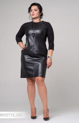 Платье F&K 3399-B Черный/Кожа