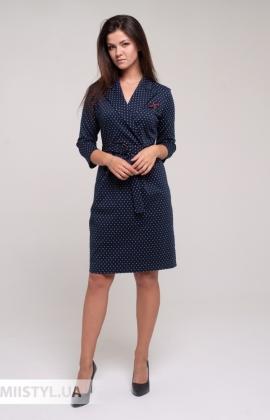 Платье Perzoni 8397 Темно-синий/Белый/Горох