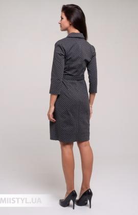 Платье Perzoni 8397 Темно-серый/Белый/Горох