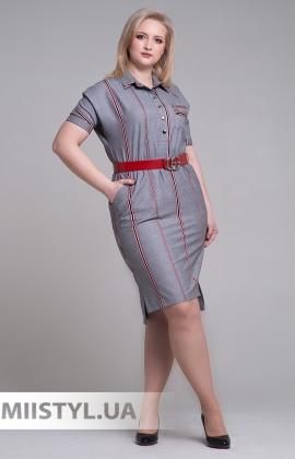 Платье Lady Morgana 5829 Серый/Красный/Клетка