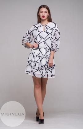 Платье Dojery 200919 Белый/Черный/Принт