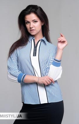 Блуза Moda Linda 10009 Белый/Индиго/Полоска