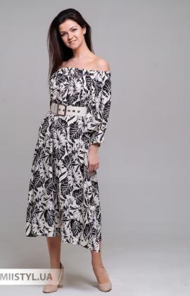 Платье Dojery 337536 Бежевый/Черный/Принт
