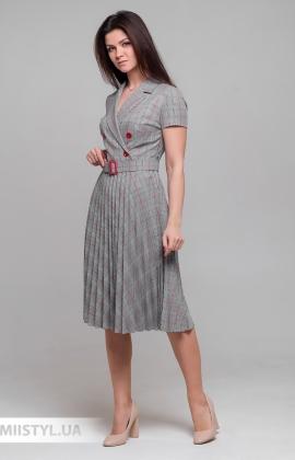 Платье Lady Morgana 5010 Серый/Красный/Клетка