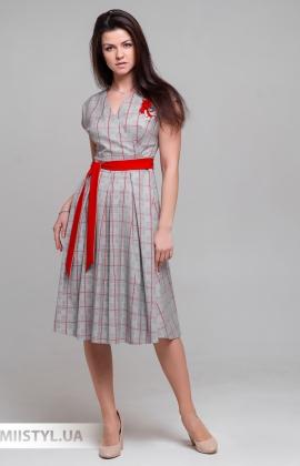 Пдатье Lady Morgana 5026 Серый/Красный/Клетка