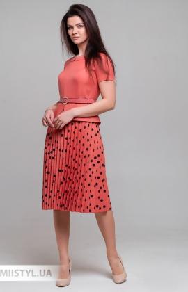 Платье Lady Morgana 5031 Светло-терракотовый/Горох