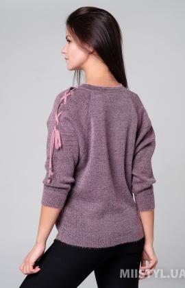 Джемпер короткий рукав Serianno 10C6008 Темно-розовый/Люрекс