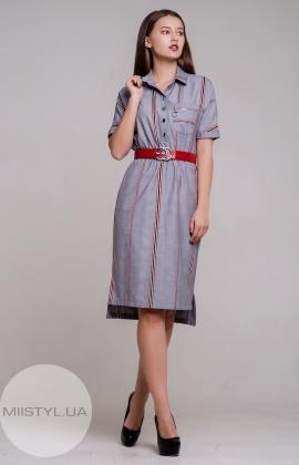 Платье Lady Morgana 4829 Серый/Красный/Клетка