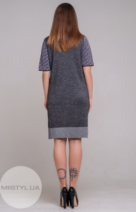 Платье Serianno 10С5184 Темно-серый/Люрекс