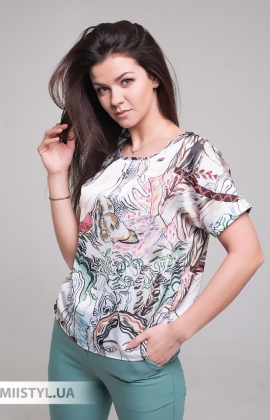 Блуза Pretty Lolita 13116 Белый/Зеленый/Принт