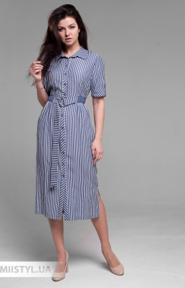 Платье F&K 3480 Джинсовый/Белый/Полоска