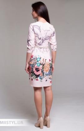 Платье La Fama 1519 Бежевый/Принт