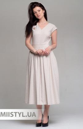 Платье Mira Mia 19Y6044 Бежевый/Белый/Полоска