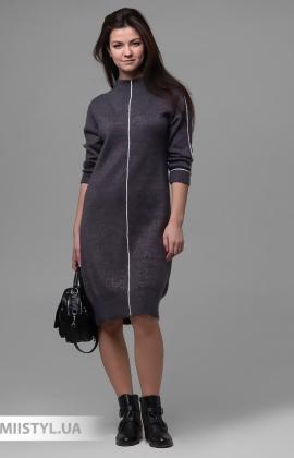 Платье Serianno 10С6904 Темно-серый/Люрекс