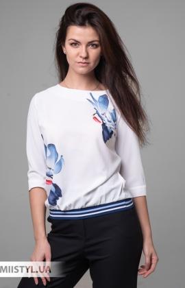 Блуза Cliche 2604514 Белый/Синий/Принт
