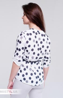 Блуза Moda Linda 3272 Белый/Черный/Горох