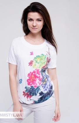 Блуза MC 1828 Молочный/Малиновый/Принт