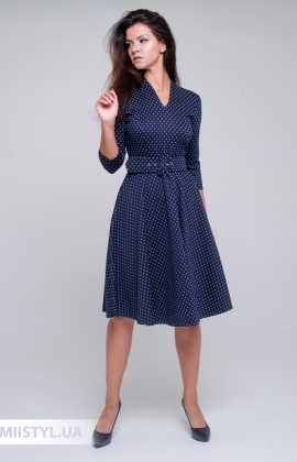 Платье L.Hotse 5850 Темно-синий/Белый/Горох