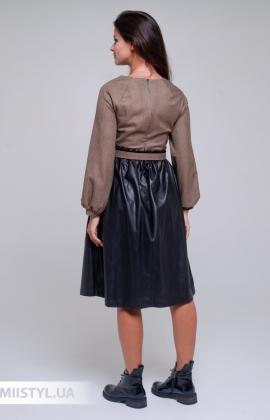 Платье La Julyet 6685 Бежевый/Черный/Кожа