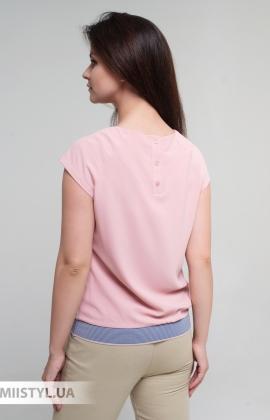 Блуза Cliche 4724795 Пудра/Голубой/Принт