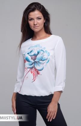 Блуза Merkur 0565046 Белый/Голубой/Принт