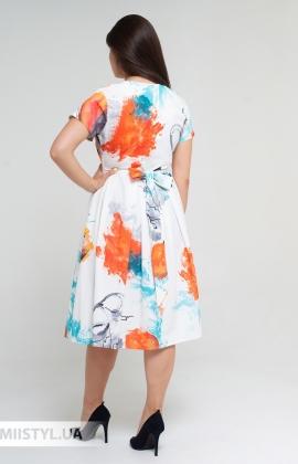 Платье La Fama 1551B Белый/Оранжевый/Принт