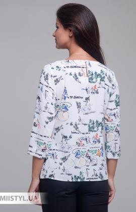 Блуза Merkur 0545048 Белый/Зеленый/Принт