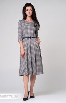 Платье Lady Morgana 4922 Серый/Желтый/Клетка