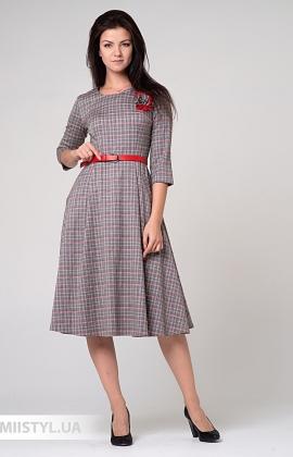 Платье Lady Morgana 4922 Серый/Красный/Клетка