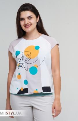 Блуза Cliche 4729795 Бежевый/Горчичный/Принт