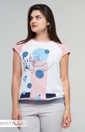 Блуза Cliche 4729795 Пудра/Голубой/Принт