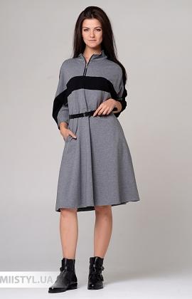 Платье Timiami T11059 Серый/Черный
