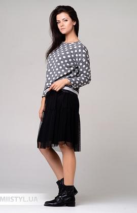 Платье One Love 9030 Серый/Белый/Горох