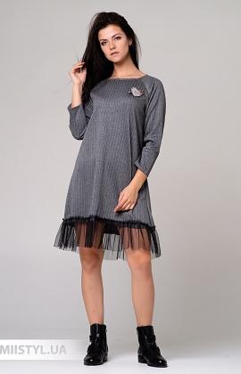 Платье One Love 8578.1 Серый/Полоска