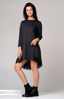 Платье One Love 8330 Темно-серый/Полоска