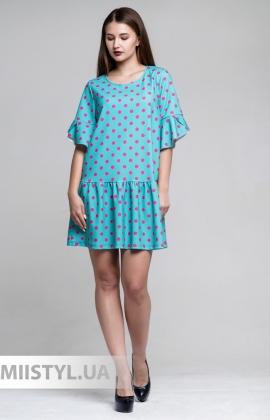 Платье Lumina 7682 Мятный/Малиновый/Горох
