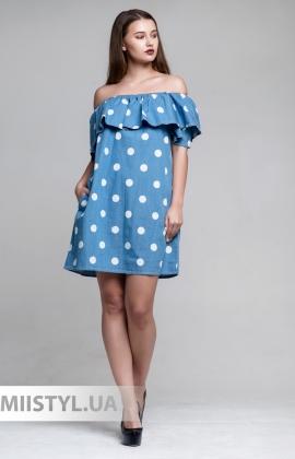 Платье Self precious AB2964 Джинсовый/Горох