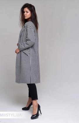 Пальто SHN 1117-653 Черный/Белый/Лапка