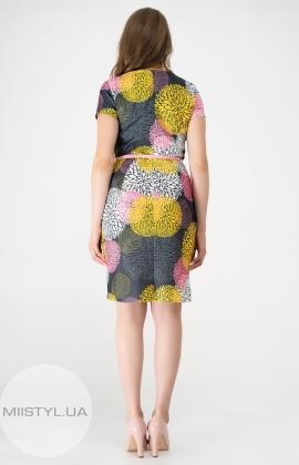 Платье La Fama 1132B Серый/Розовый/Принт