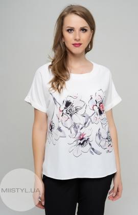 Блуза Cliche 1078034 Белый/Пудра/Принт