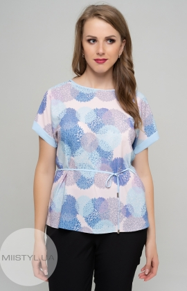 Блуза Cliche 1098028 Белый/Голубой/Принт