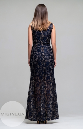 Платье Green World 6871 Бежевый/Темно-синий