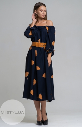 Платье Dojery 124536 Темно-синий/Оранжевый/Принт