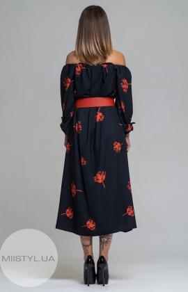 Платье Dojery 124536 Черный/Красный/Принт