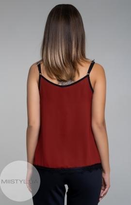Блуза La Fama 1107 Бордовый/Черный