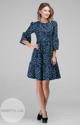 Платье La Fama 1033 Темно-синий/Пудра/Принт