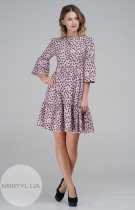 Платье La Fama 1033 Пудра/Темно-синий/Принт