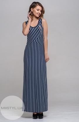 Платье Macca 8S832 Темно-синий/Белый/Полоска
