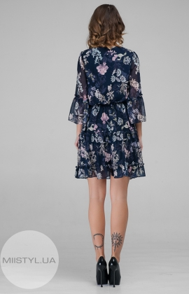 Платье Body form 6375 Темно-синий/Пудра/Принт