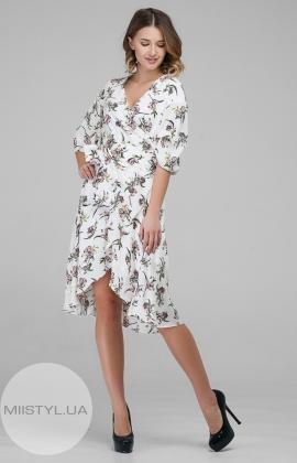 Платье CHARMING 18120 Белый/Пудра/Принт